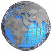 image of eastern hemisphere  - Europe and Africa on a grey geographic net enveloping Earth isolated on white background - JPG
