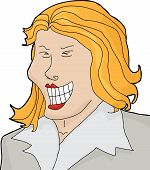 image of hysterics  - Cartoon of laughing businesswoman over isolated white background - JPG