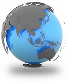 picture of hemisphere  - Eastern Hemisphere standing out of blue Earth in grey isolated on white background - JPG