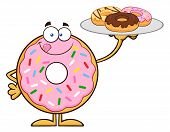 picture of donut  - Sweet Donut Cartoon Character Serving Donuts - JPG