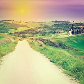 picture of farmhouse  - Dirt Road Leading to the Farmhouse in Tuscany at Sunset Instagram Effect - JPG