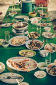 picture of table manners  - Remaining plates leftover on the table with remaining Thai food in vintage color - JPG