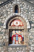 picture of templar  - Religious painting on facade of the Templar Church in Bran Romania - JPG