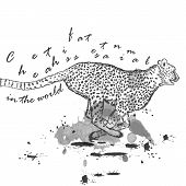 picture of cheetah  - Hand drawn cheetah animal running with ink spots - JPG