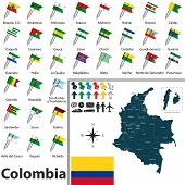 picture of bolivar  - Vector map of Colombia with regions and flags - JPG
