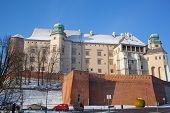 pic of winter palace  - Wawel castle in sunny winter day Krakow - JPG