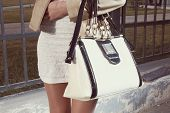 stock photo of instagram  - Fashion young woman with handbag and white skirt near street fence closeup - JPG