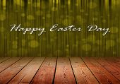 picture of curtains stage  - Happy Easter Dau on gold stage curtain background and wood floor - JPG