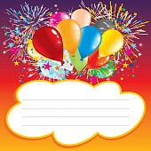 pic of happy birthday  - Card with balloons and text area  - JPG