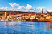 image of bavaria  - Scenic sunset evening view of old buildings at Main river pier and street architecture in the Old Town of Wurzburg - JPG