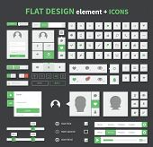 stock photo of packing  - Flat ui kit pack design with icons for webdesign and mobile design pure and clean flat design - JPG