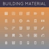 picture of plinth  - Thirty building material line icons including door - JPG