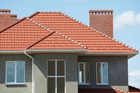stock photo of red roof  - new home and roof - JPG
