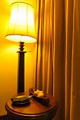 Lamp And Table In A Hotel