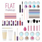 Постер, плакат: Flat Mega Set Of Makeup Products