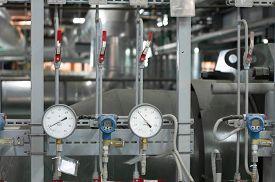 foto of manometer  - Manometers in the industrial boiler - JPG