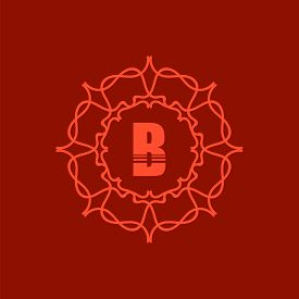 picture of monogram  - Simple  Monogram B Design Template on Red  Background - JPG