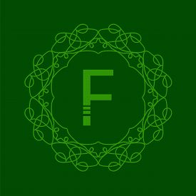 picture of monogram  - Simple  Monogram F Design Template on Green  Background - JPG