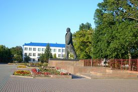 picture of lenin  - View of Lenin Square in Stolin at sunny summer day Belarus - JPG