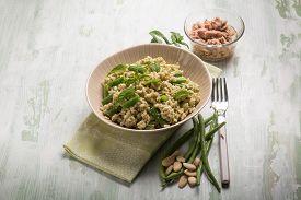 foto of mint-green  - cold rice salad with tuna green - JPG