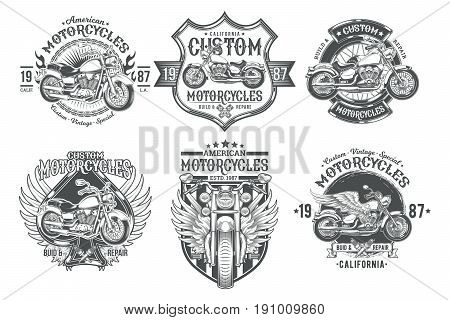 Set vector black vintage badges, emblems with a custom motorcycle  Print,  template, advertising design element for the motor club, motorcycle repair