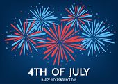 Usa  Happy   Independence  Day Background  With  Fireworks. poster