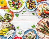 Постер, плакат: Greek Food Background