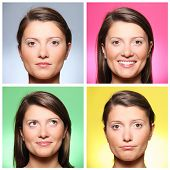 A set of four portraits of a pretty young woman expressing different emotions over colourful backgro