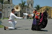 Marinera dancers in front of the cathedral in Lima Peru travel