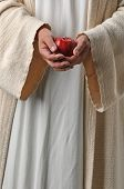 Jesus's hands holding an apple as a symbol of producing fruit