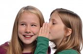 Little girls sharing a secret isolated on a white background