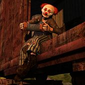 stock photo of boxcar  - Vagabond clown riding in a railway car - JPG