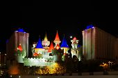 LAS VEGAS - MAY 2: The Excalibur Hotel & Casino is shown in this image taken at night on May 2, 2007 in Vegas. The hotel cost approximately $290 million and opened to the public in 1990.