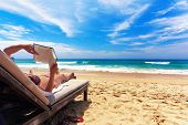 picture of summer beach  - Relaxing on the beach - JPG