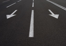 picture of road sign  - photo of road signs arrows on asphalted surface - JPG