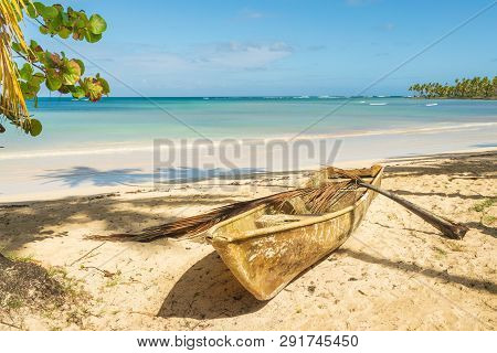 poster of Travel Vacation Tropical Destination. Sandy Beach Landscape. Travel Vacations Destination. Travel Co