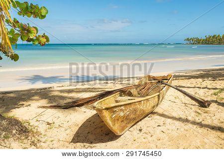 poster of Travel Vacation Tropical Destination. Sandy Beach Landscape. Travel Vacations Destination. Travel Co