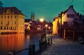 picture of regnitz  - Regnitz quay Schloss Concordia and Imperial cathedral in evening - JPG
