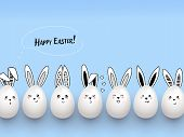 Happy Easter Funny Cute Rabbits With Calligraphic Text, Clouds And Easter Eggs On Light Blue Backgro poster