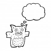 gremlin with thought bubble cartoon