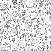 Cute Cats In The Summer Seamless Pattern. Black And White Doodle Background. Great For Coloring Book poster