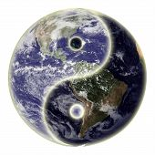 Yin And Yang Symbol And Earth