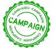 Grunge Green Campaign Word Round Rubber Seal Stamp On White Background poster