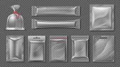 Plastic Package. Realistic Clear Bag Mockup, 3d Transparent Food Product Pack Set, Blank Glossy Foil poster