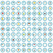 100 Meteorology Icons Set In Flat Style For Any Design Vector Illustration poster