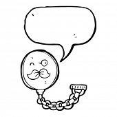 monocle with speech bubble cartoon