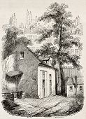 The house where Blaise Pascal died in rue Neuve-Saint-Etienne, Paris. Created by Durond, published o