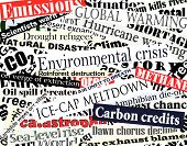 stock photo of current affairs  - Editable vector illustration of newspaper headlines on an environmental theme - JPG