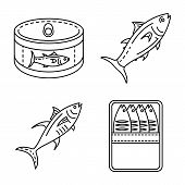Tuna Icon Set. Outline Set Of Tuna Icons For Web Design Isolated On White Background poster