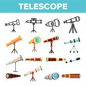 Telescope Icon Set Vector. Spyglass Discover Tool. Astronomy Science Magnify Instrument. Learning Un poster